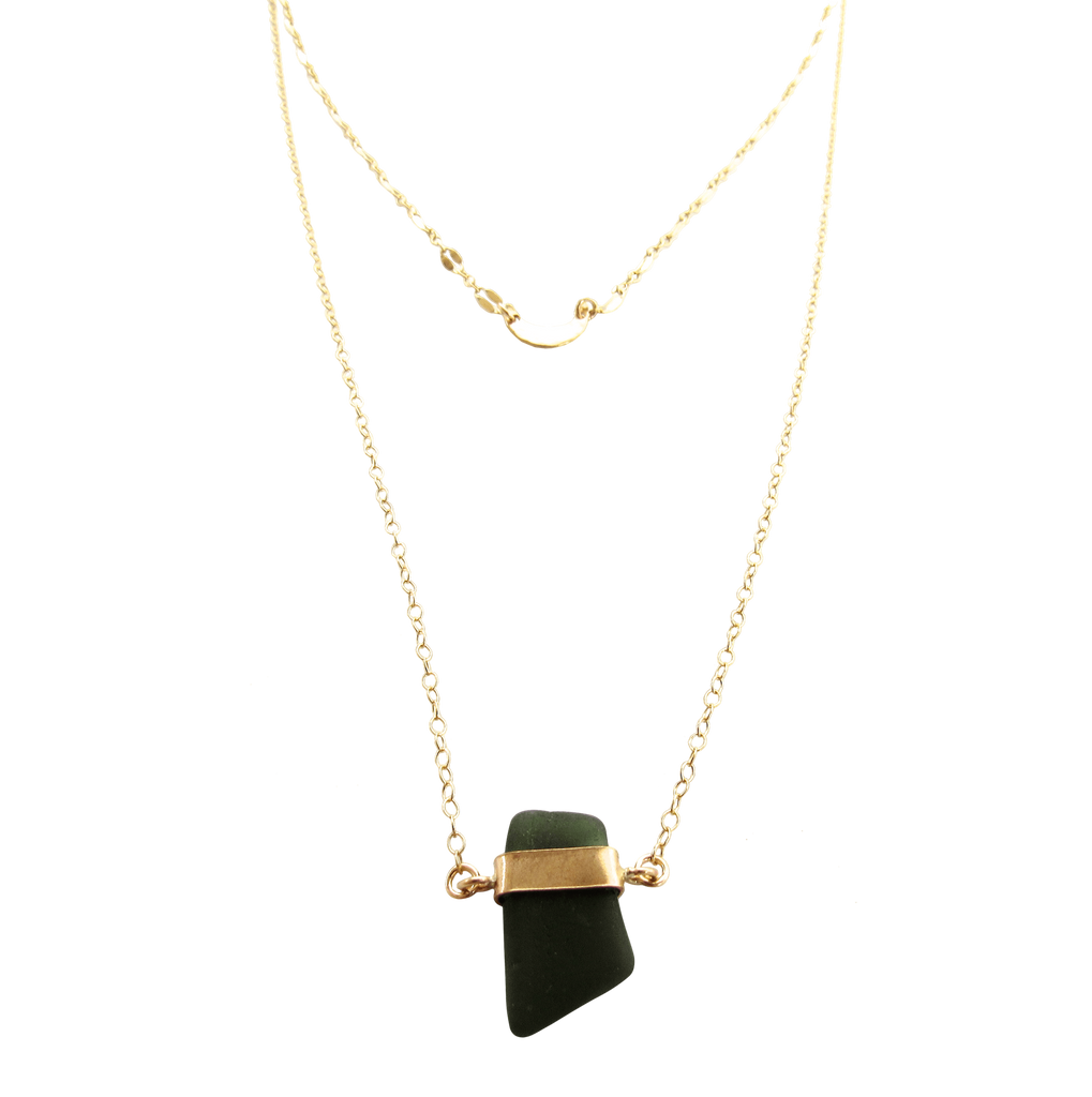 Sabrina Necklace | Deep Olive Sea Glass (Ready To Ship!)