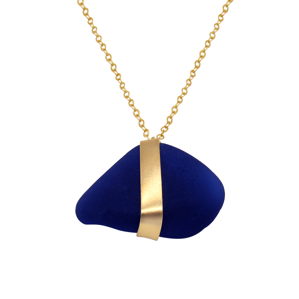 Manifest Mindfulness Sea Glass Gold Necklace