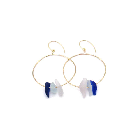 Cobalt + Lavender Sea Glass Gold Earrings