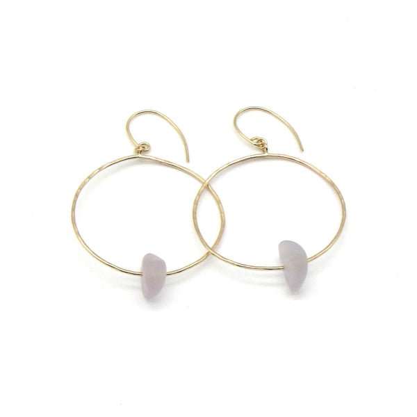 Soft Lavender Sea Glass Gold Hoop Earrings