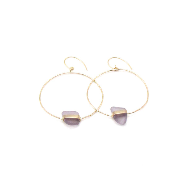 Lavender Sea Glass Gold Earrings