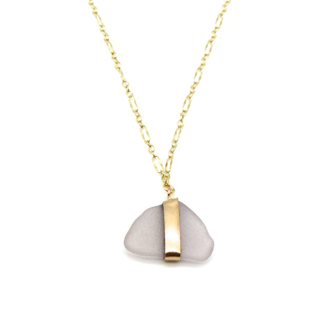 Lavender Sea Glass Gold Necklace
