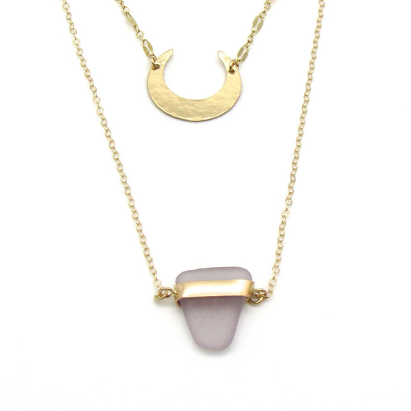 Lavender Sea Glass Gold Layered Necklace