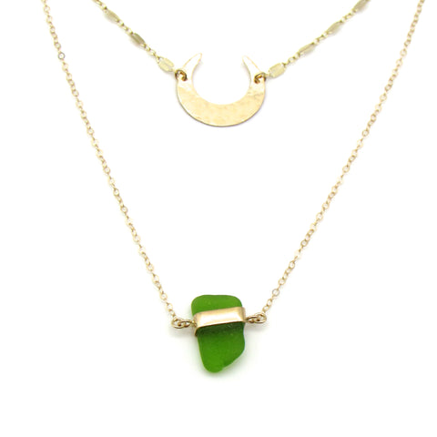 Megan | Sea Glass + Gold Necklace