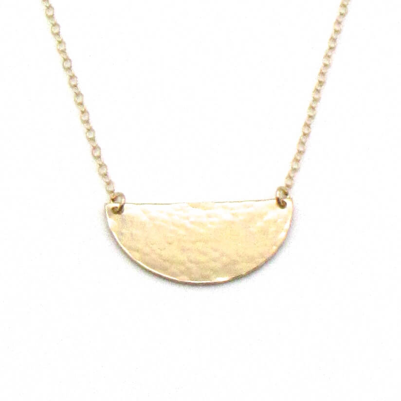 Half Sun | Gold Necklace-Hammered-Ingrid Caduri Jewelry