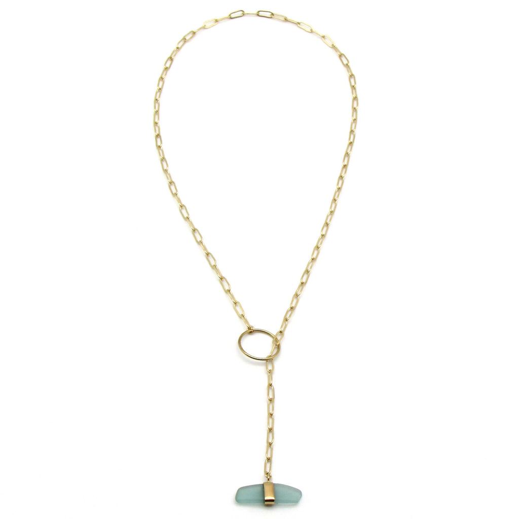 Mia | Sea Glass + Gold Necklace-Cool Aqua-Ingrid Caduri Jewelry