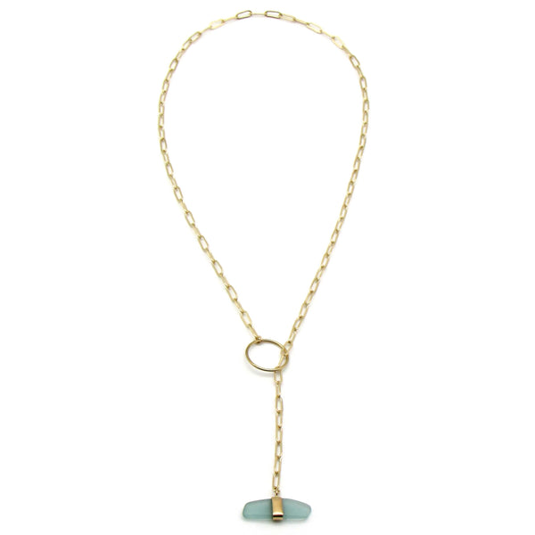Mia | Sea Glass + Gold Necklace