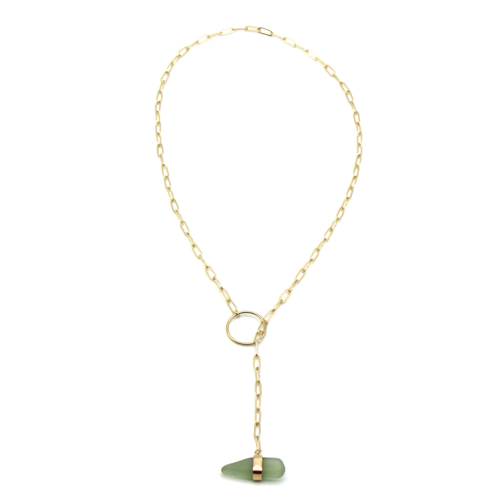 Mia | Sea Glass + Gold Necklace-Soft Sage Green-Ingrid Caduri Jewelry