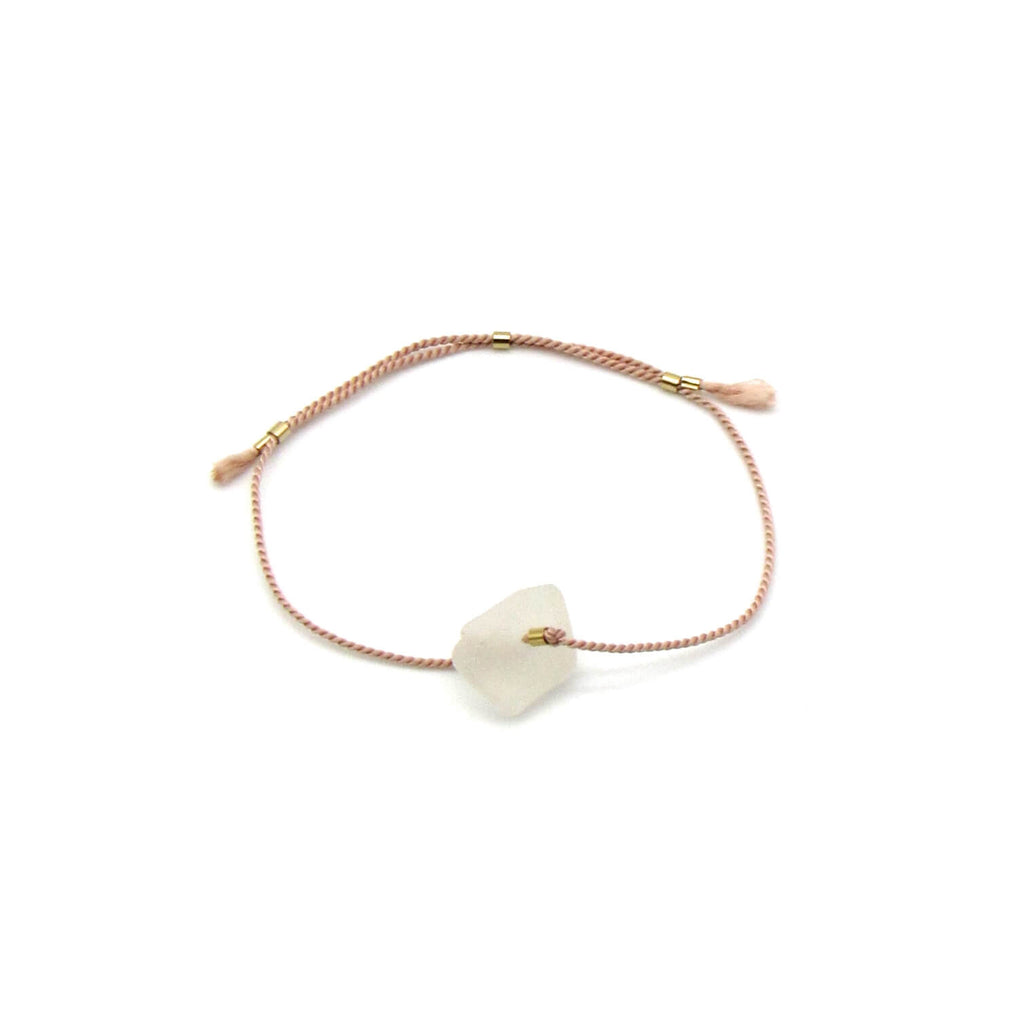 Gratitude Bracelet | Sea Glass + Gold Bracelet-Rose Silk Cord | Frosty White Sea Glass-Ingrid Caduri Jewelry
