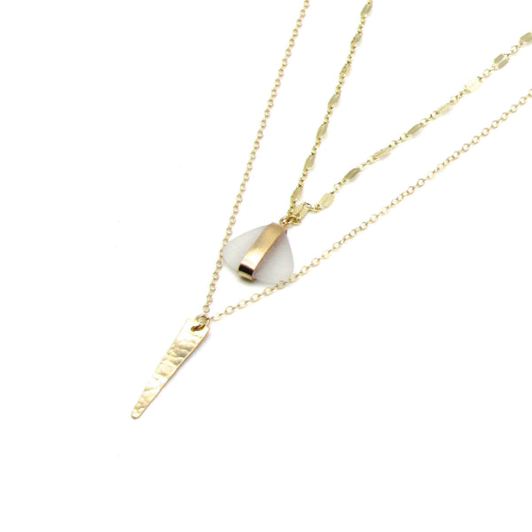 Sierra | Sea Glass + Gold Necklace