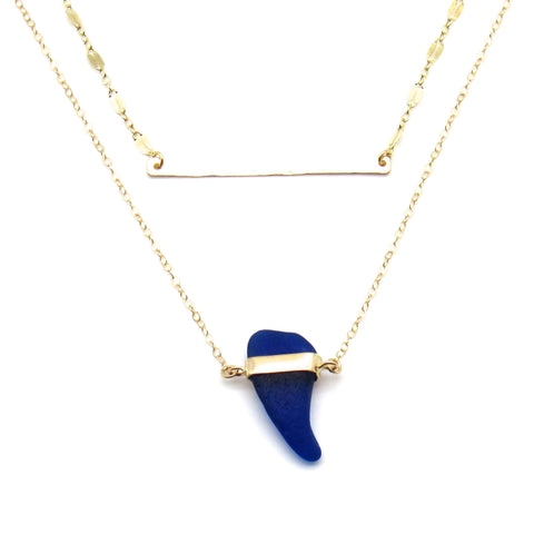 Limor | Rare Cobalt Sea Glass + Gold Necklace-Ingrid Caduri Jewelry
