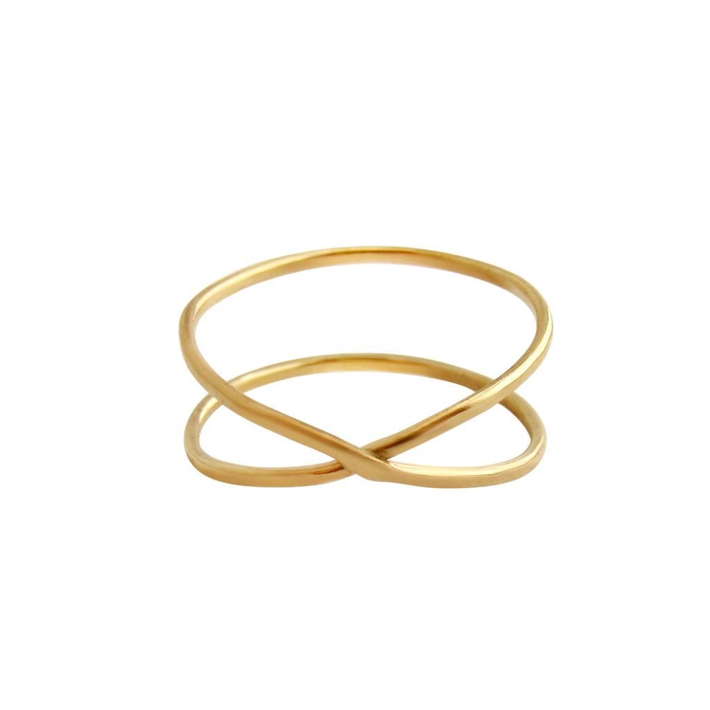 Hammered | Infinity Gold Ring-3-Ingrid Caduri Jewelry