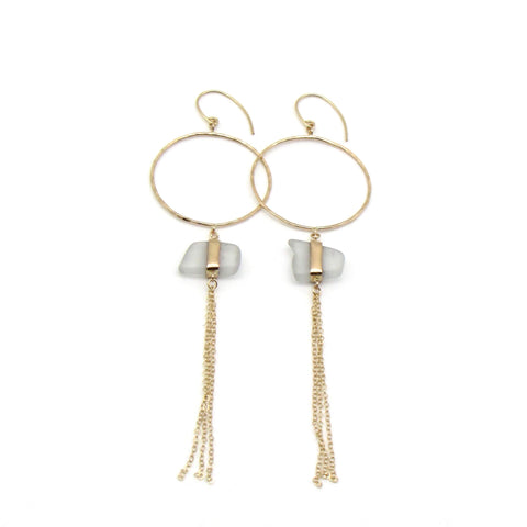Josephine | Sea Glass + Gold Earrings-Frosty White-Ingrid Caduri Jewelry