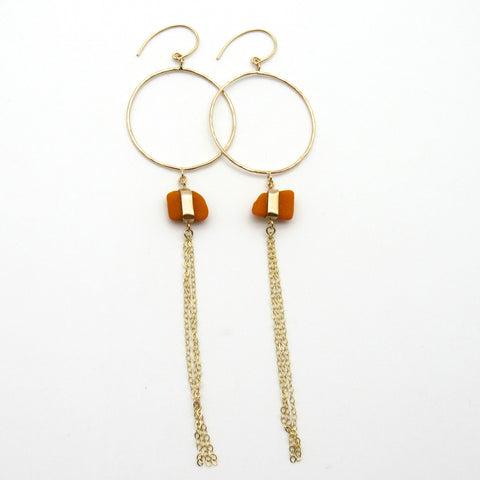 Josephine | Rare Orange Sea Glass + Gold Earrings