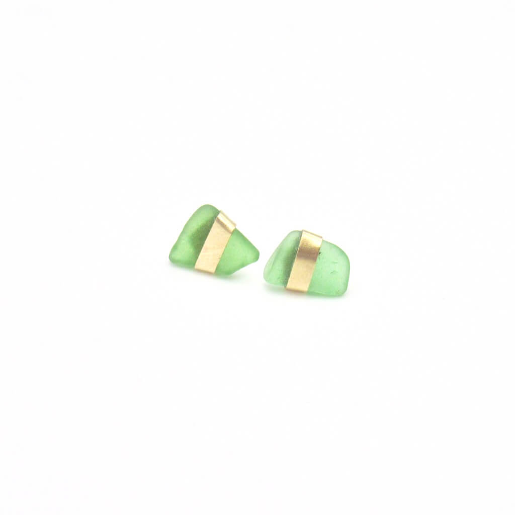 Emerald Sea Glass Gold Earrings