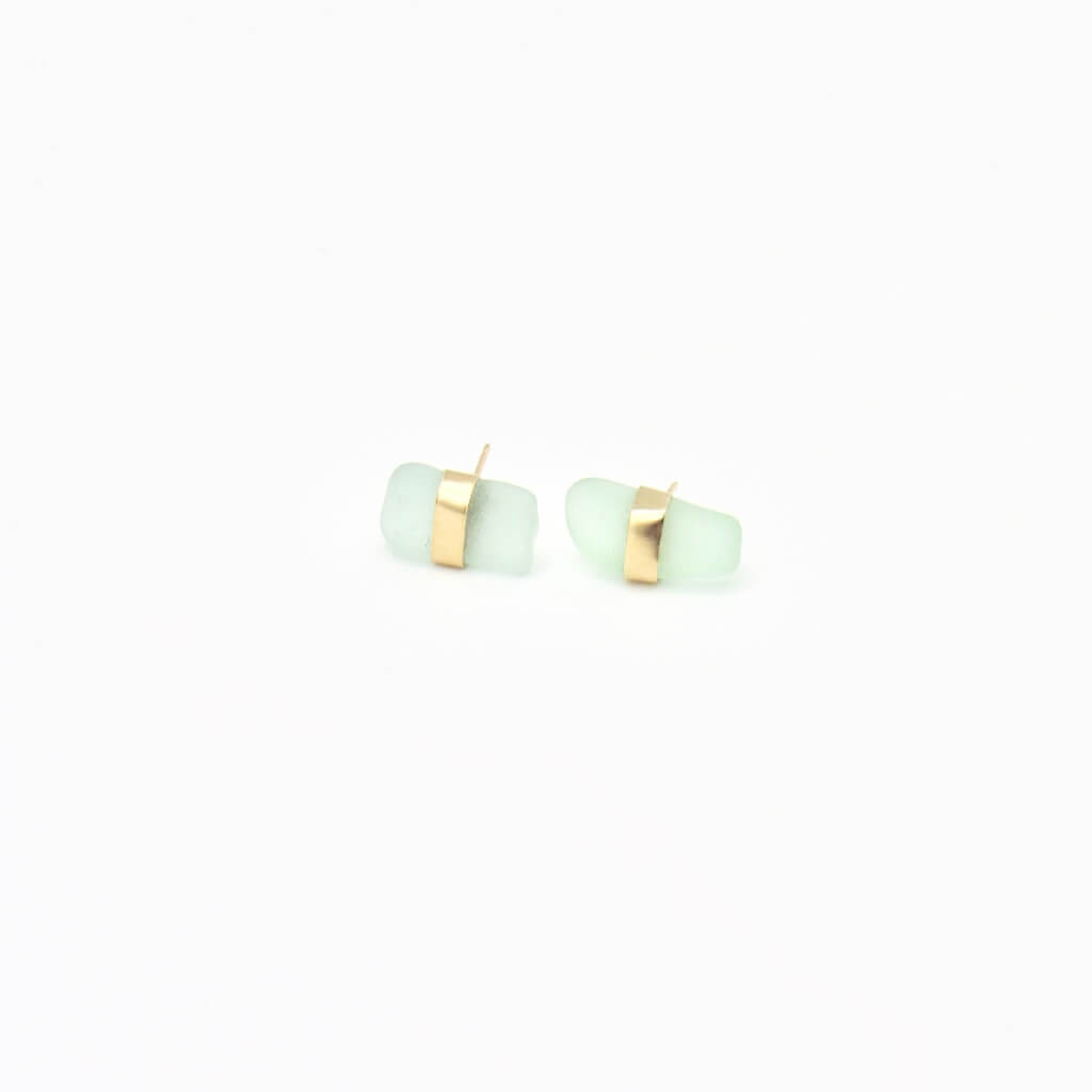 Seafoam Sea Glass Gold Earrings