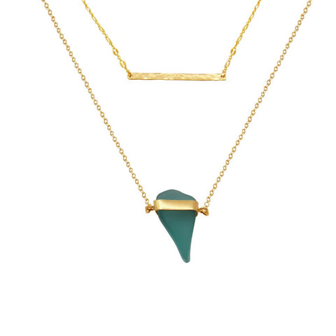 Turquoise Sea Glass Gold Necklace