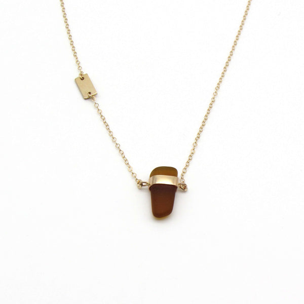 Mae | Rare Amber Sea Glass + Gold Necklace