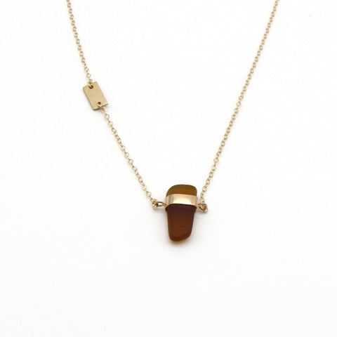 Mae | Rare Amber Sea Glass + Gold Necklace-Ingrid Caduri Jewelry