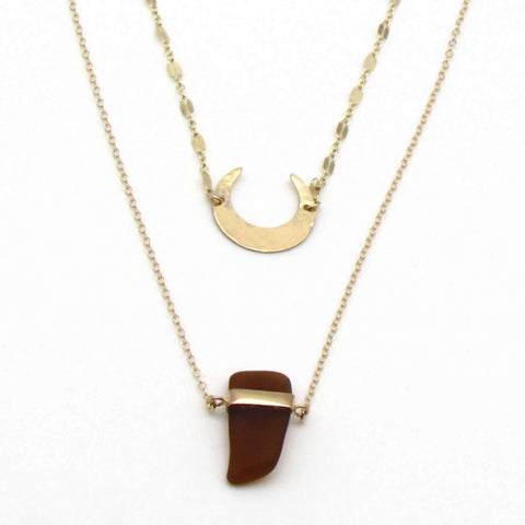 Megan | Amber Sea Glass + Gold Necklace