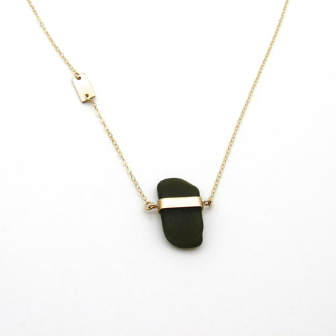 Mae | Forest Green Sea Glass + Gold Necklace