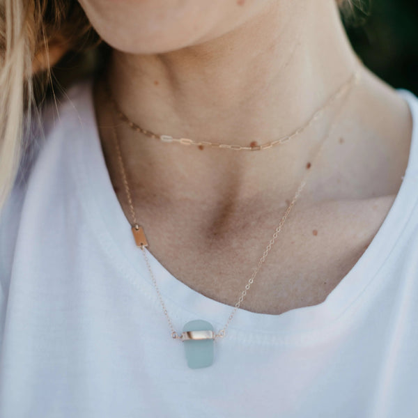 Mae | Sea Glass + Gold Necklace-Cool Aqua-Ingrid Caduri Jewelry