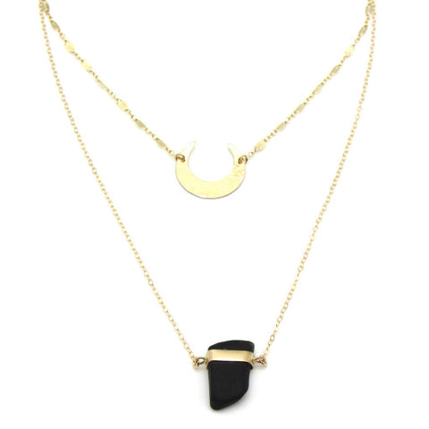 Sea glass layered gold necklace