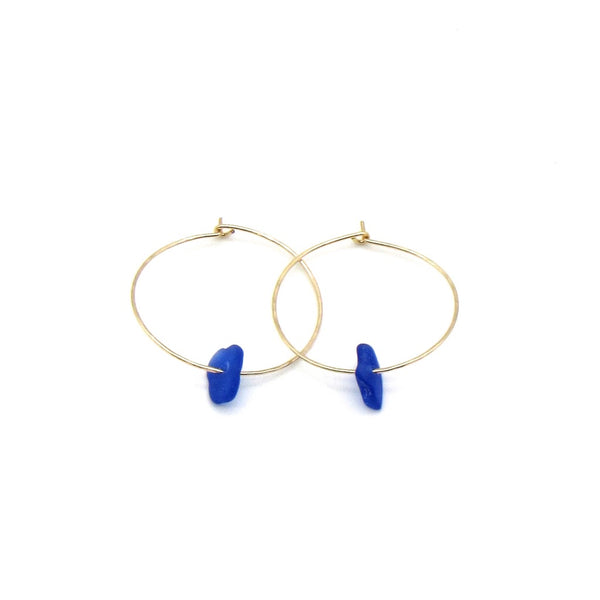 Rare cobalt blue sea glass earrings with dainty hammered gold