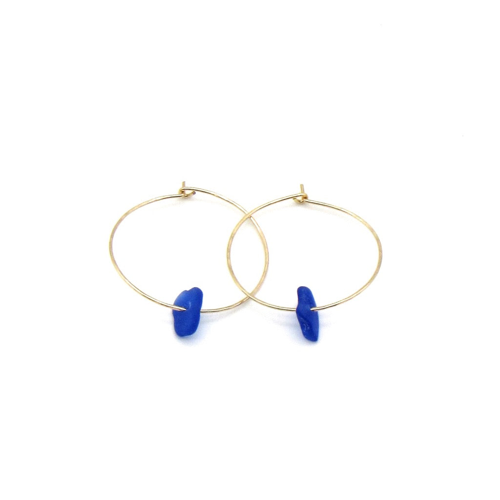 Rare cobalt blue sea glass hoop earrings with dainty hammered gold