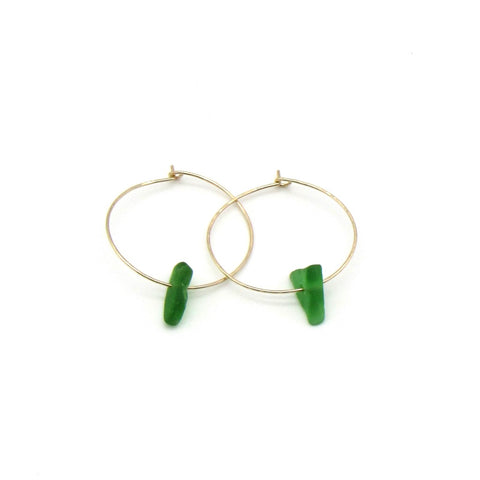 Emerald green sea glass hoop earrings with dainty hammered gold