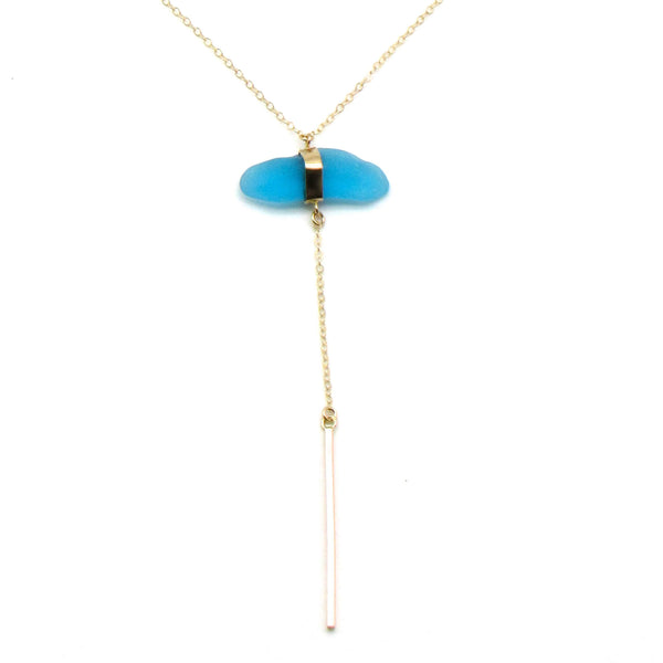 Audrey | Cerulean Sea Glass + Gold Necklace