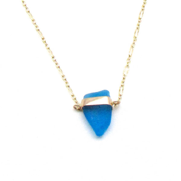 Kristen | Cerulean Sea Glass + Gold Necklace