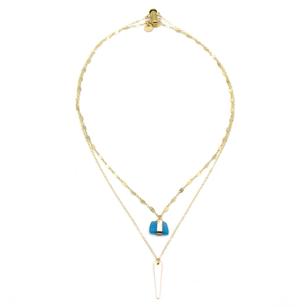 Sierra | Cerulean Sea Glass + Gold Necklace