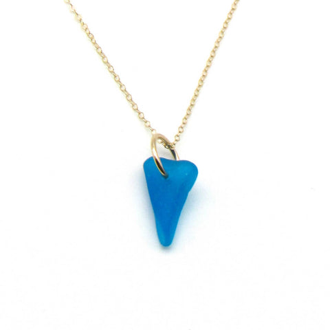 Valentina | Cerulean Sea Glass + Gold Necklace
