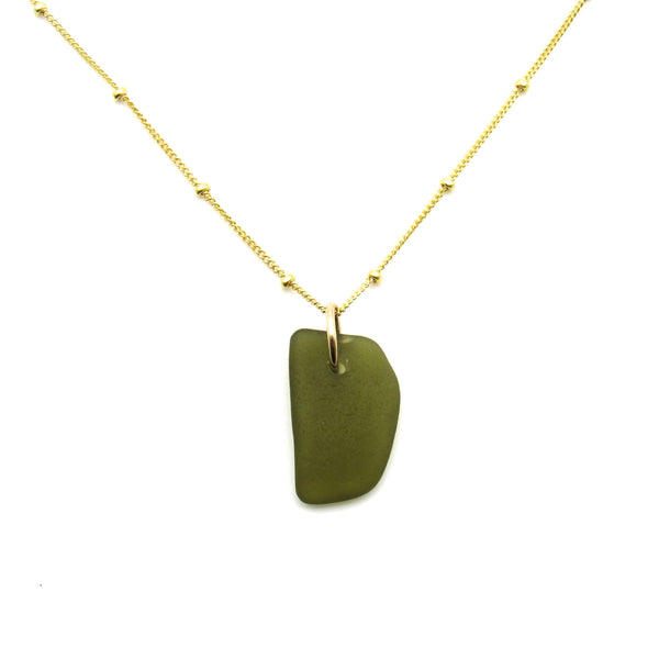 June | Deep Olive Sea Glass + Gold Necklace