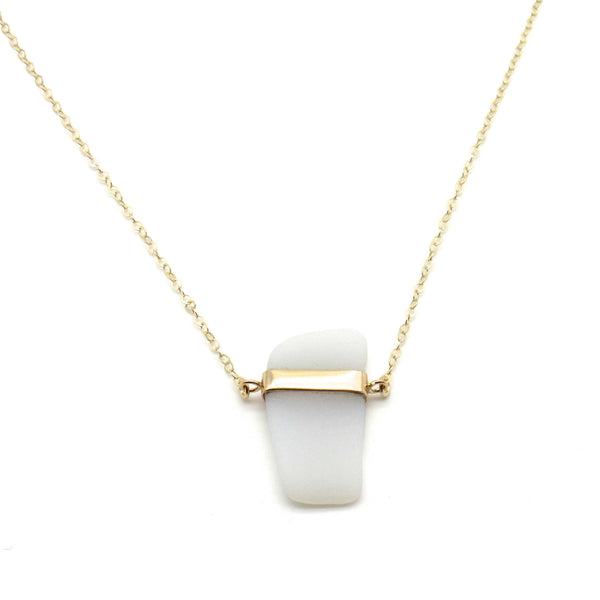 Roberta | Opaque White Sea Glass + Gold Necklace