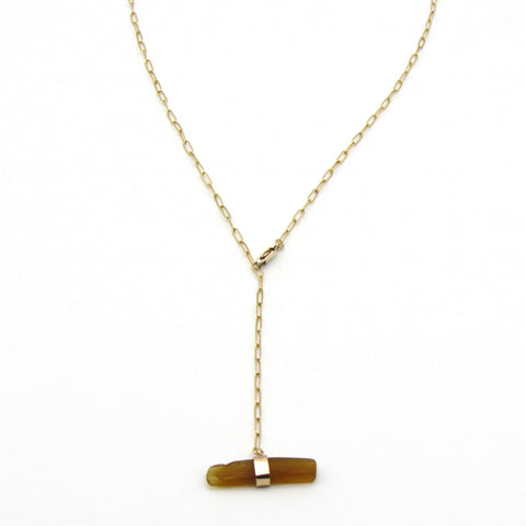 Roseline | Rare Amber Sea Glass + Gold Necklace-Ingrid Caduri Jewelry