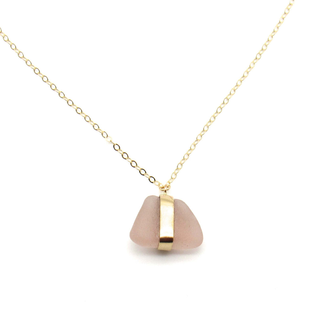 Sarah | Rose Sea Glass Gold Necklace