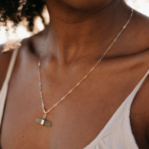 Roseline | Sea Glass + Gold Necklace-Soft Sage Green-Ingrid Caduri Jewelry