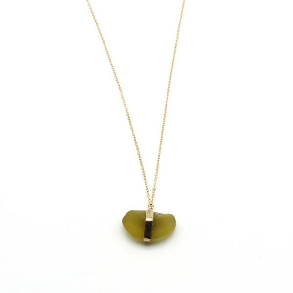 Sarah | Rare Yellow Sea Glass + Gold Necklace-Ingrid Caduri Jewelry