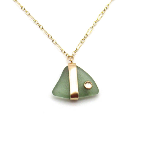 Cheri | Sage Sea Glass & White Topaz + Gold Necklace
