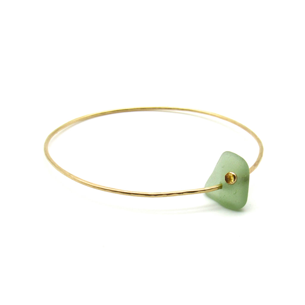 Elize Bracelet | Sea Glass & Gemstone + Gold