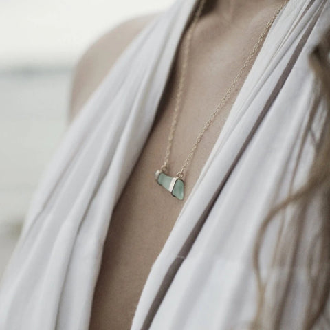 Irene | Sea Glass + Gold Necklace-Light Aqua-Ingrid Caduri Jewelry