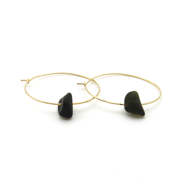 Simone Hoop Earrings | Rare Black Sea Glass + Gold