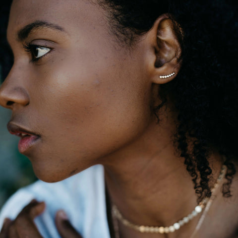 Stardust | Gold Climber Earrings-Ingrid Caduri Jewelry
