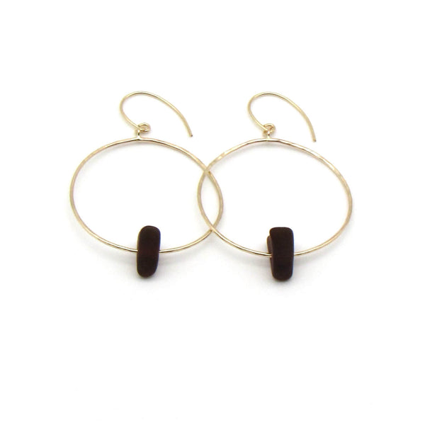 Tyler Earrings | Amber Sea Glass + Gold-Ingrid Caduri Jewelry