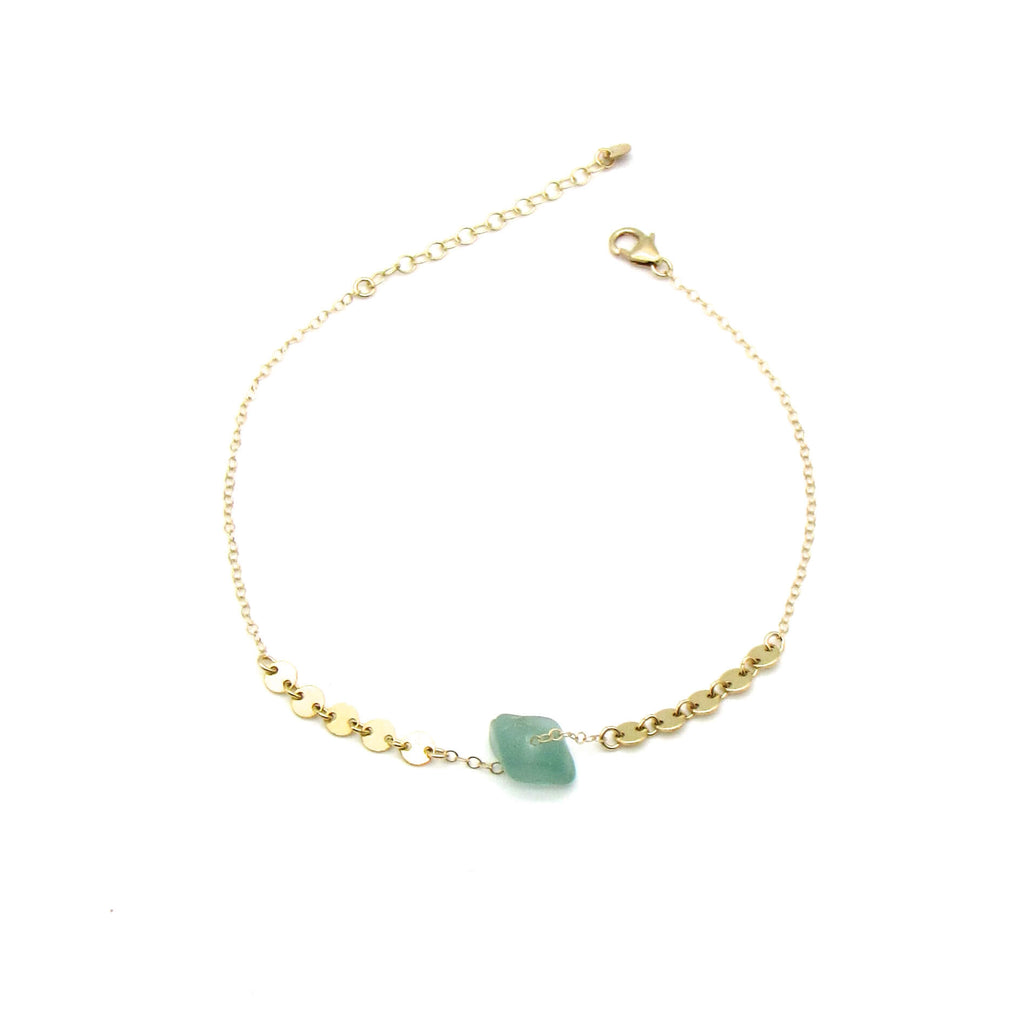 Turquoise Sea Glass Gold Anklet