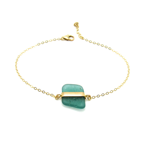 Turquoise Sea Glass Gold Bracelet