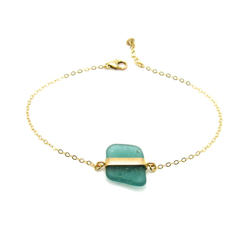 Turquoise and Gold Sea Glass Bracelet