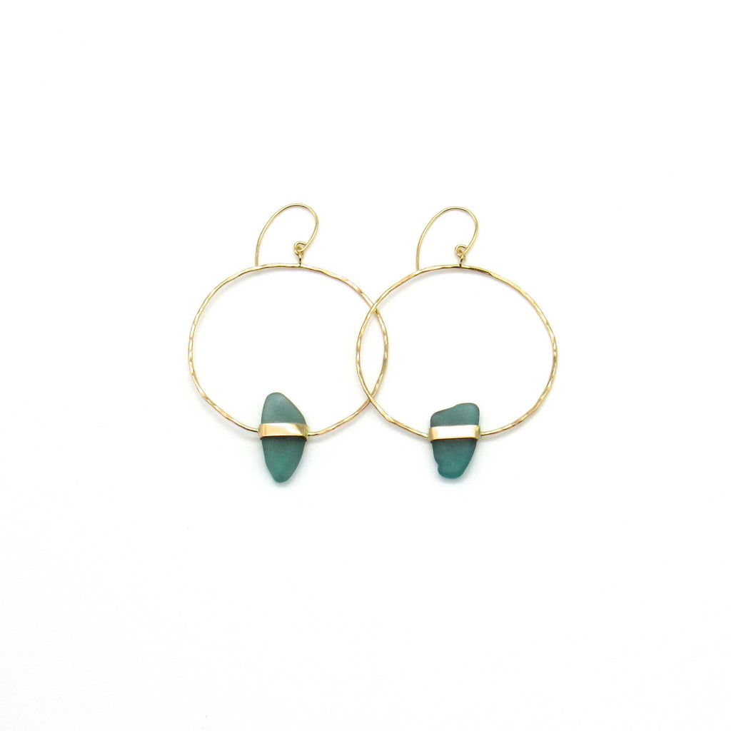 Turquoise Sea Glass Gold Earrings